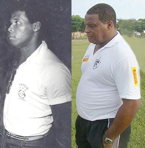 Cláudio Mineiro (à esq.) enquanto era jogador pelo Internacional e (à dir.) treinador pelo Corumbaense (Foto: Reprodução)