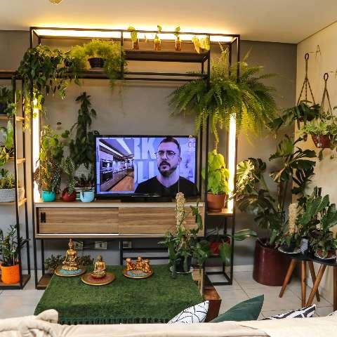 Para ter selva sem sair da cidade, casal encheu a casa de plantas