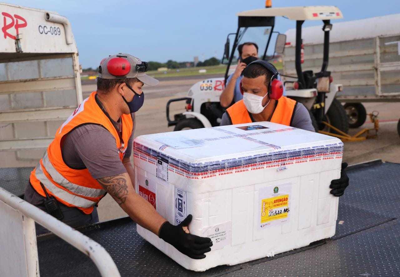 Caixas de vacina chegaram em Mato Grosso do Sul na metade desta semana (Foto: Paulo Francis/Arquivo)
