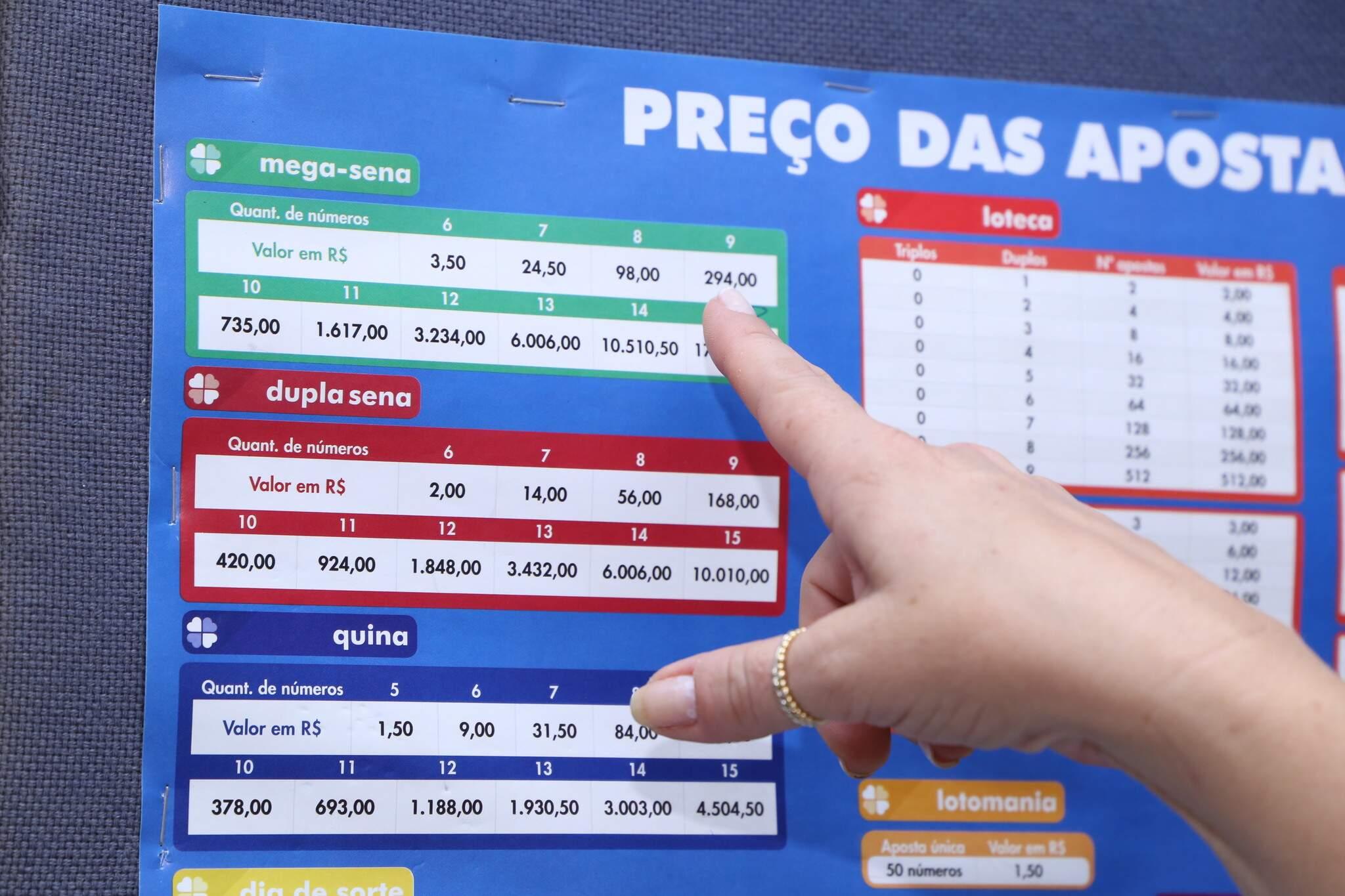 Apostadora apontando os valores das apostas da Mega-Sena. (Foto: Kísie Ainoã)