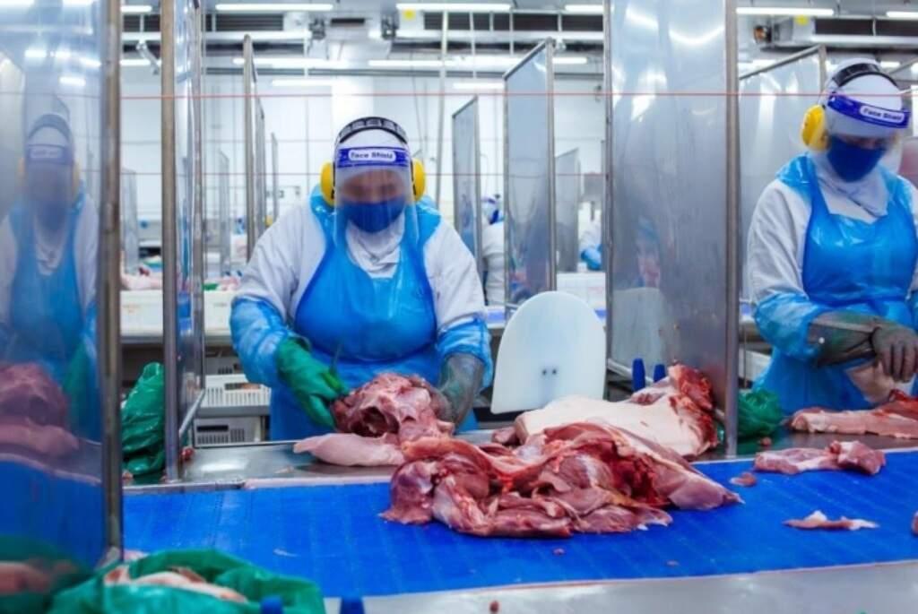 Trabalhadores da linha de produção do frigorífico da Seara/JBS em Dourados (Foto: Arquivo)