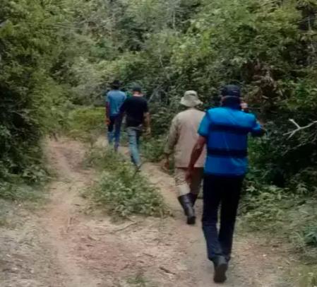 Militares durante buscas terrestre em fazenda (Divulgação/Corpo de Bombeiros)