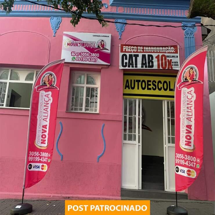 Autoescola Nova Aliança fica na Rua Antônio Maria Coelho, 1327, Centro, entre as ruas 14 de Julho e 13 de Maio. (Foto: Marcos Maluf)