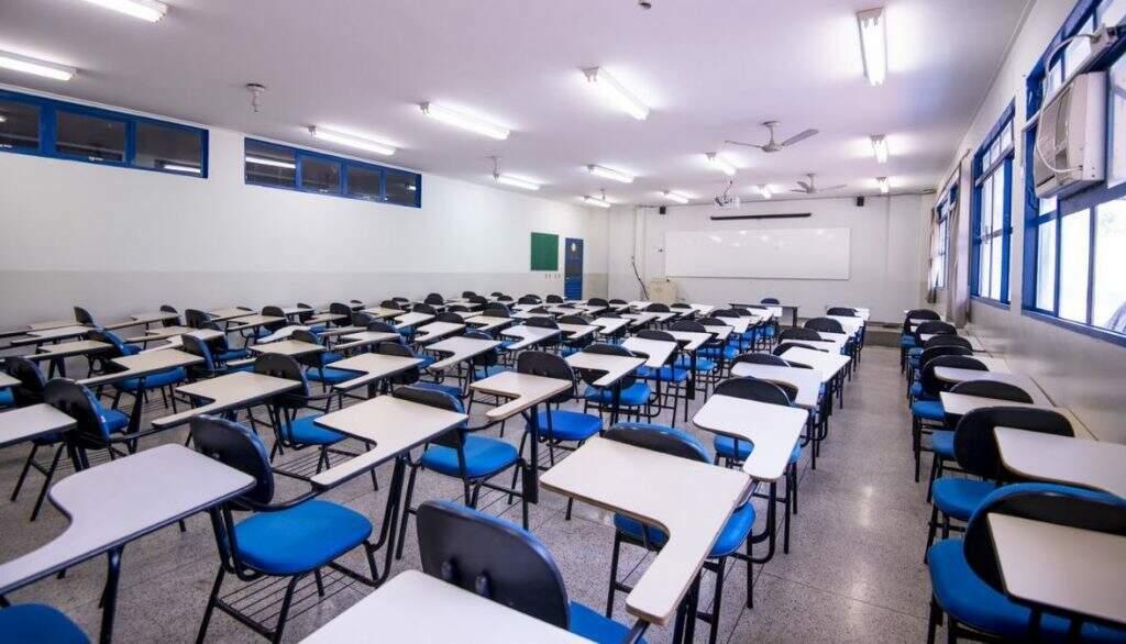 Sala de aula vazia na Uniderp, antes da pandemia (Foto: Arquivo)