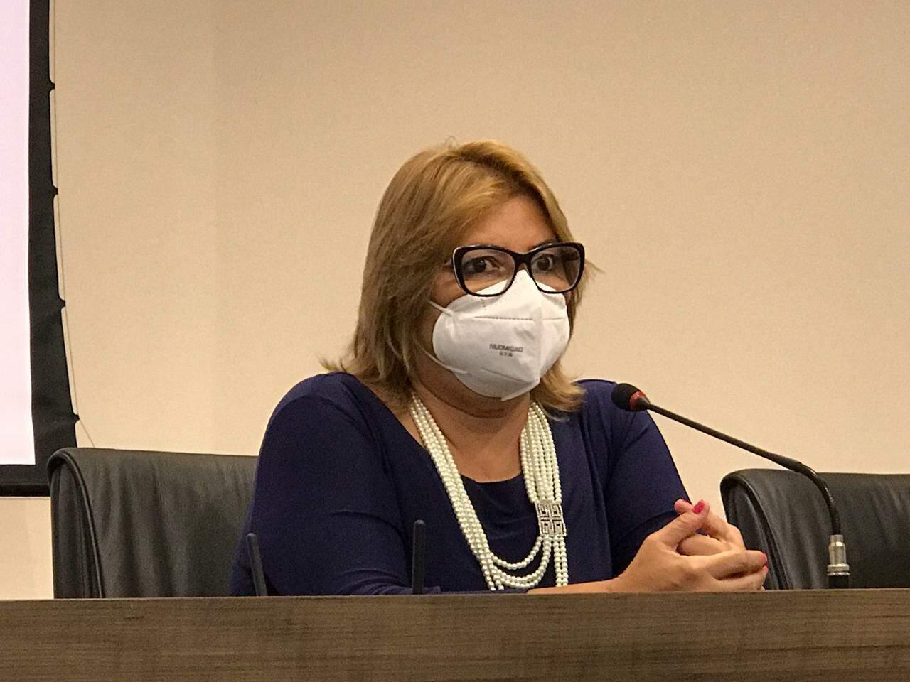 Secretária-adjunta de Saúde em reunião hoje com prefeitos. (Foto: Clayton Nesves0