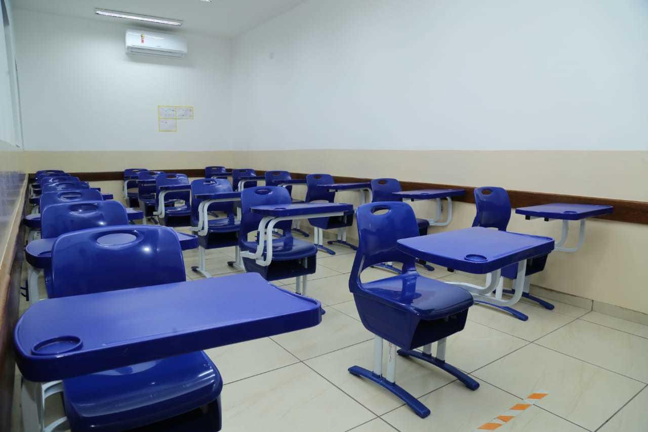 Salas confortáveis para aulas presenciais e com todos os protocolos de biossegurança (Foto: Divulgação).