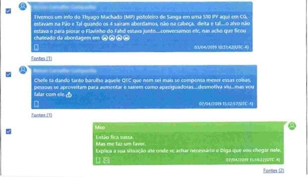 Policial (mensagens em azul) conta a Obara sobre abordagem de Flávio Georges, filho de Fahd Jamil. (Foto: Reprodução)