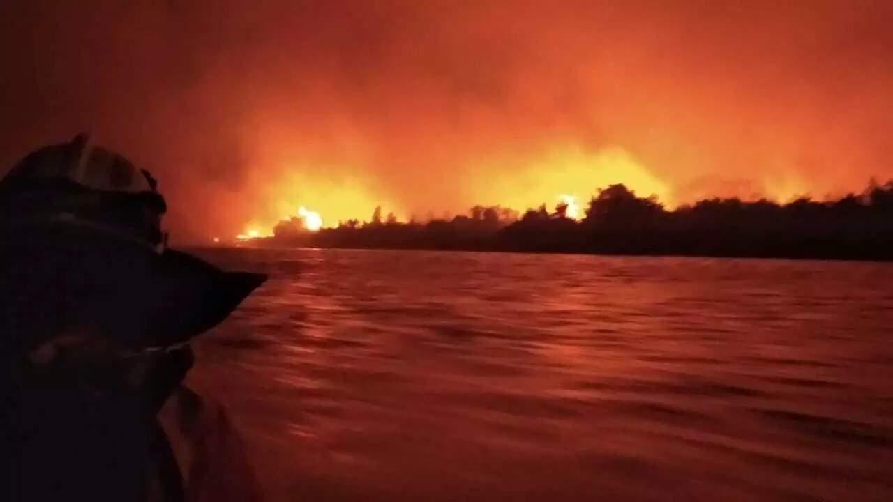 """Noite se transformou em """"dia"""" devido as chamas registradas no mês de setembro (Foto: Divulgação/CBMMS)"""