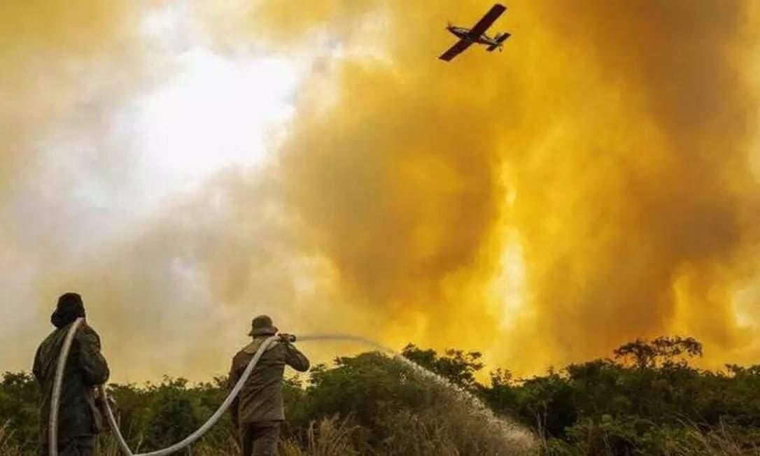 Atuação dos bombeiros militares para combate ao fogo no Pantanal (Foto: Divulgação/CBMMS)