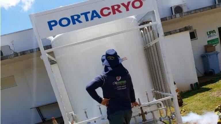 Gerador de ar comprimido nos postos de saúde: reforço para melhorar atendimento a pacientes com Covid.. (Foto: PMCG)