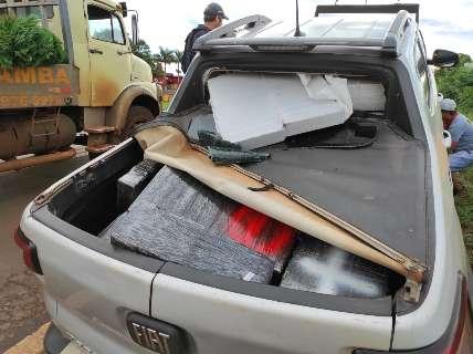 Maconha em Toro que tirou viatura da estrada pesou uma tonelada