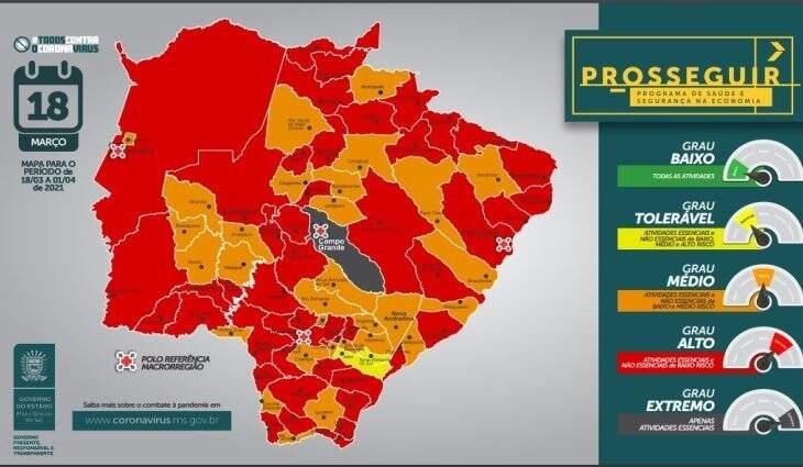 Mapa de Mato Grosso do Sul com as cores de cada classificação feita pelo governo (Foto: Reprodução/Governo estadual)