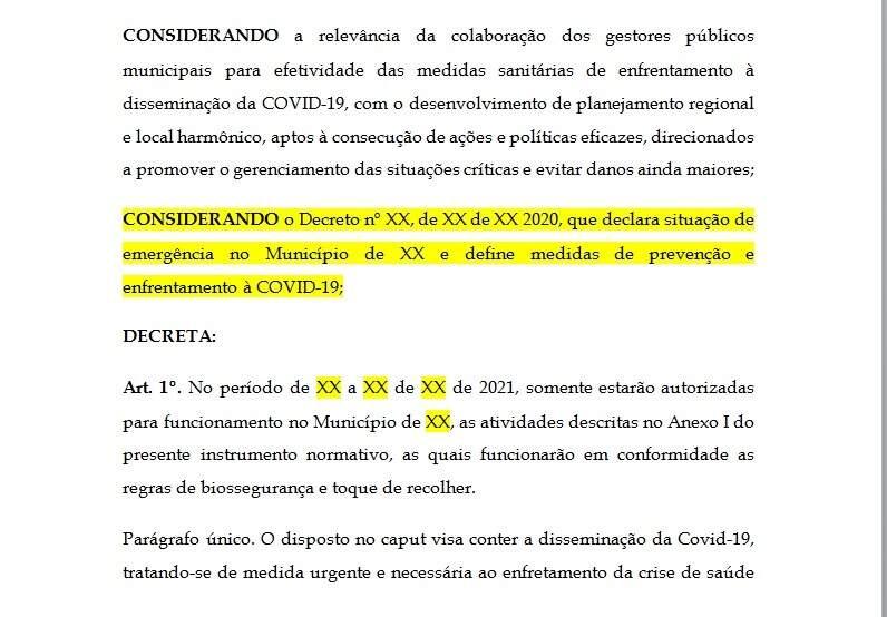Trecho do rascunho de decreto enviado às prefeituras de MS (Foto/Divulgação)