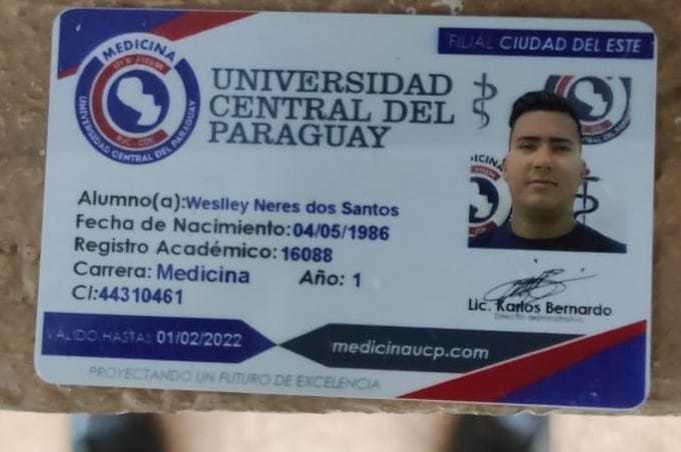 Credencial de Weslley Neres dos Santos como estudante de medicina (Foto: Divulgação)