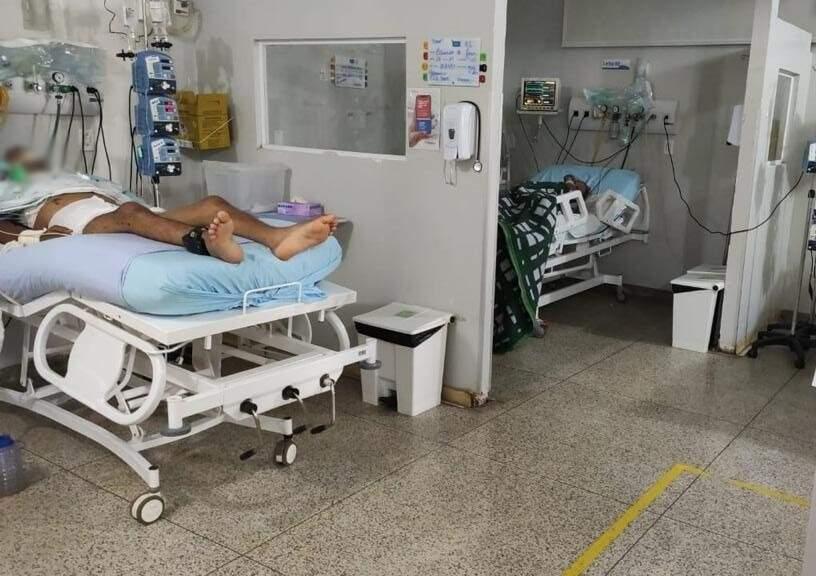 Pacientes em leitos de UTI no Hospital da Vida, em Dourados (Foto: Direto das Ruas)