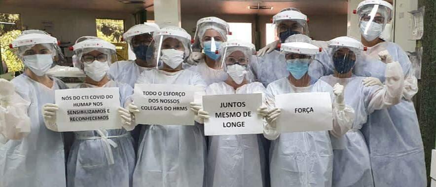 Equipe de CTI do Hopsital Univesitario mandando força para o HR (Foto; Reprodução Rede Social)