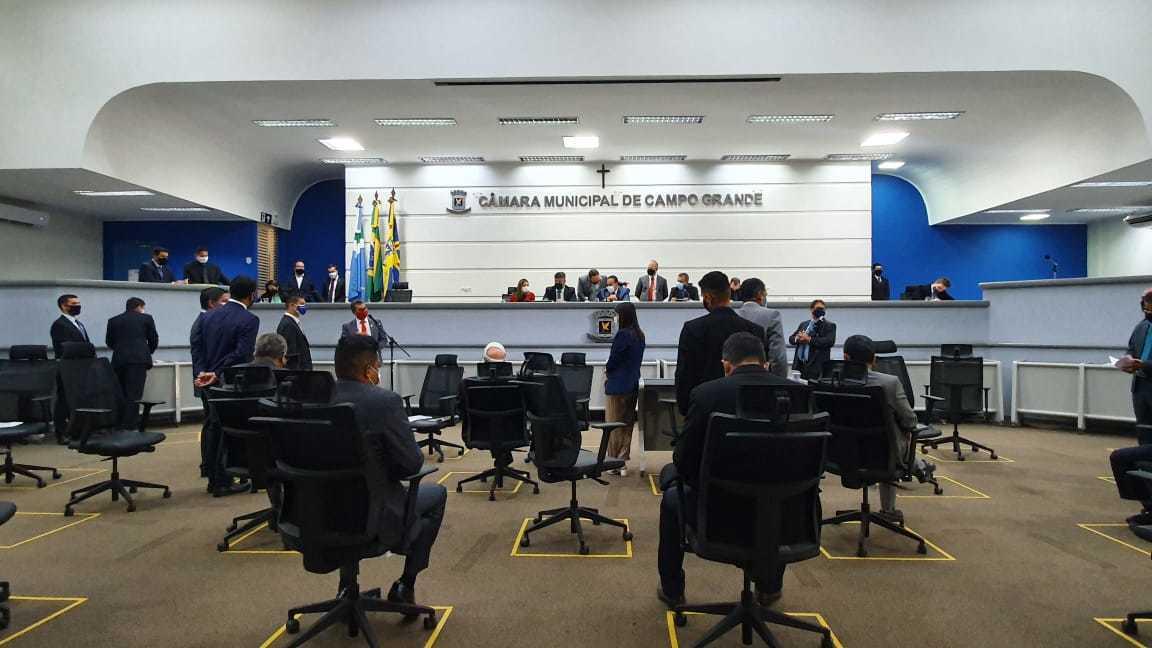Plenário da Câmara Municipal de Campo Grande durante sessão. (Foto: Clayton Neves)