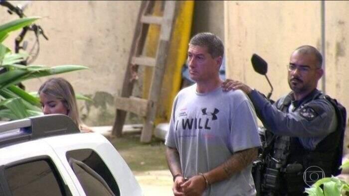 Ronnie Lessa quando foi preso em 12 de março de 2019 (Foto: TV Globo/Reprodução)