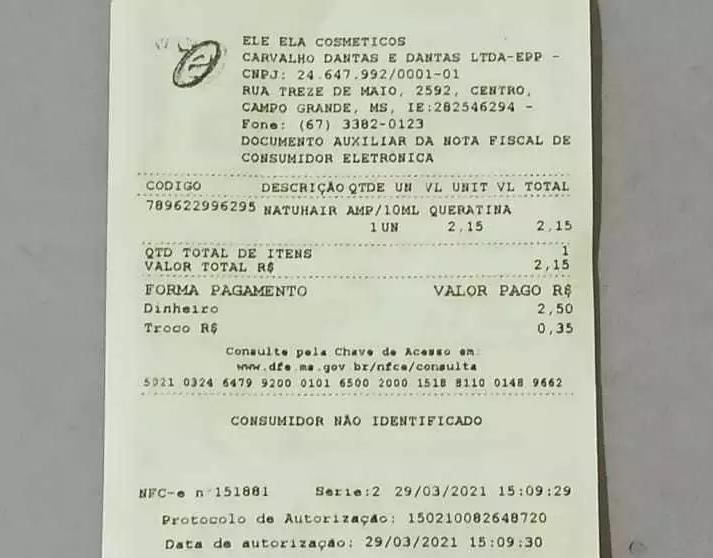 Nota fiscal da compra efetuada nesta tarde. (Foto: Kisiê Ainoã)