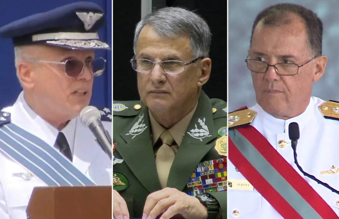 Comandantes da Aeronáutica, Antônio Carlos Moretti Bermudez, do Exército, Edson Pujol, e da Marinha, Ilques Barbosa foram substituídos nesta terça-feira (30) (Foto Reprodução)
