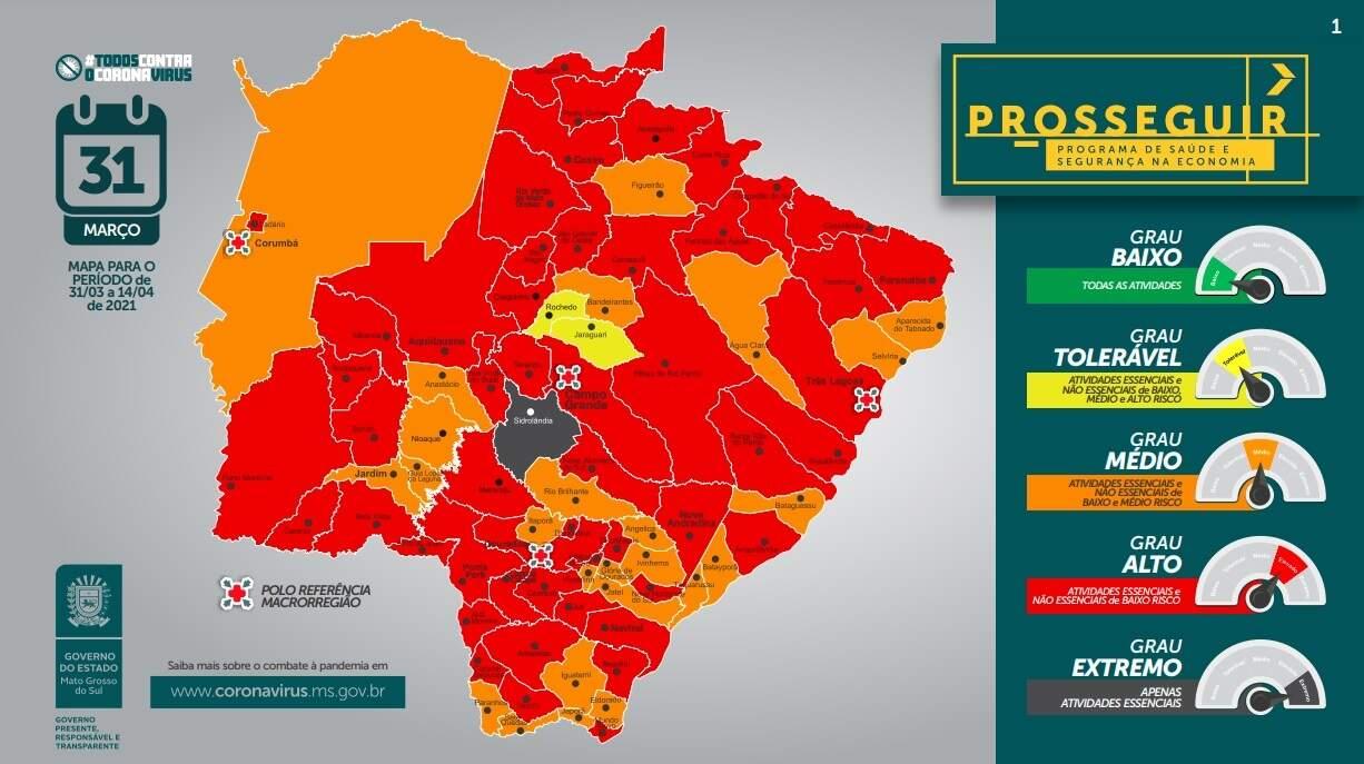 Maioria dos municípios de MS estão em bandeira vermelha (Foto: Divulgação)