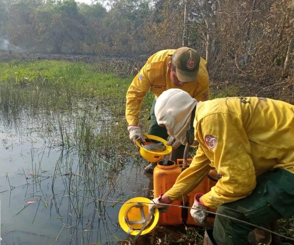 Brigadista combatem fogo em terra indígena no Pantanal, em ano de estiagem recorde (Foto: Divulgação/Prevfogo)