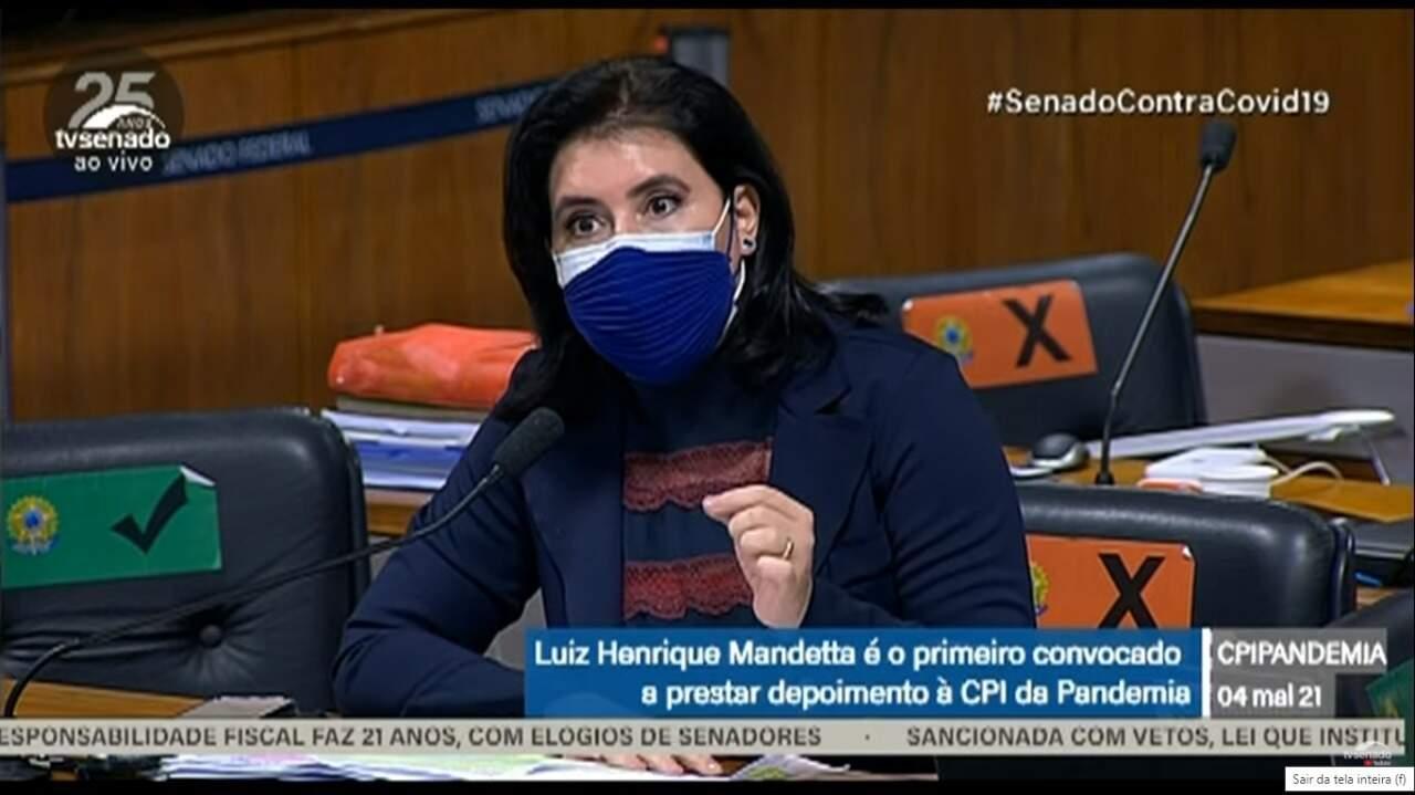 Senadora Simone Tebet foi a penúltima parlamentar a questionar o ex-ministro (Foto: Reprodução)