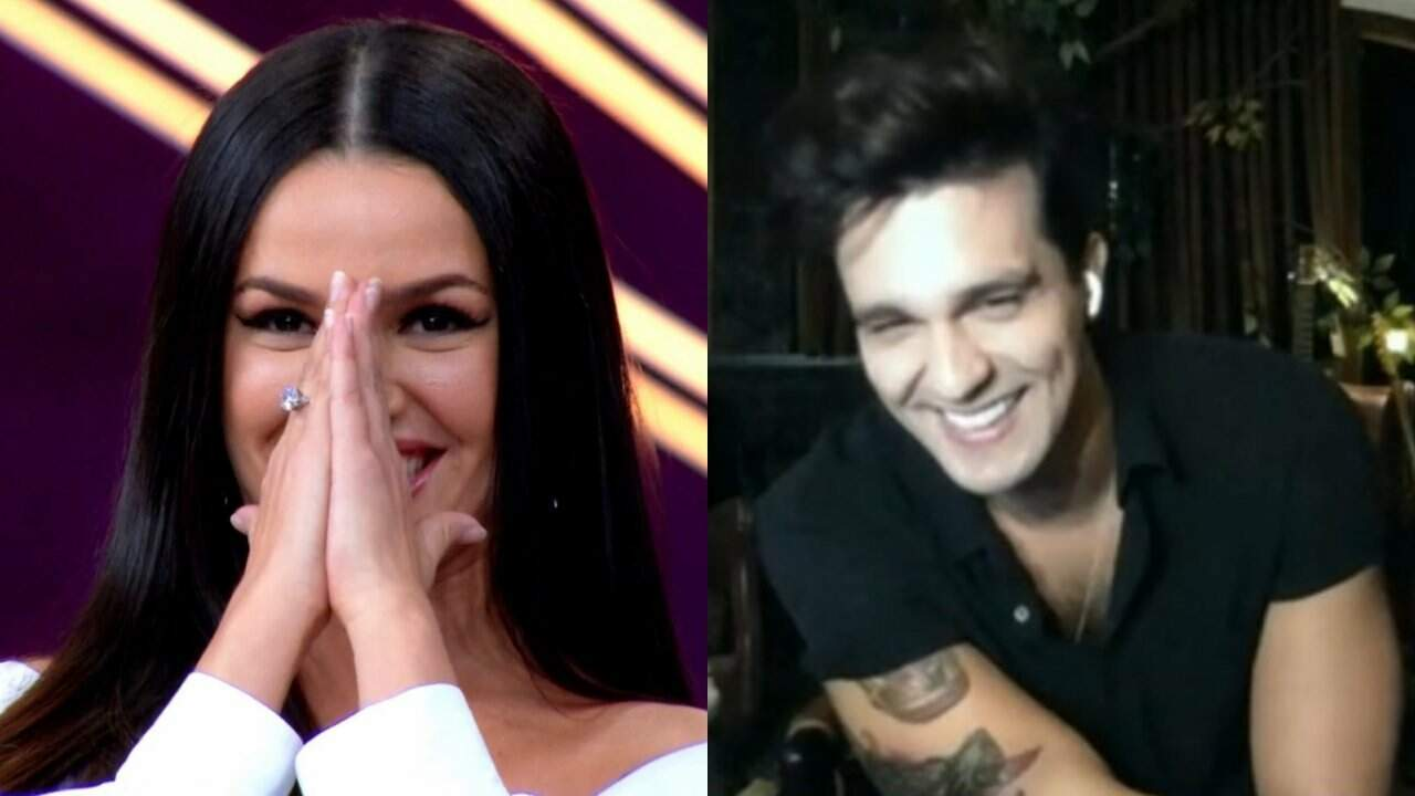 À esquerda, Juliette recebendo a notícia e à direita Luan Santana sorrindo com a resposta.