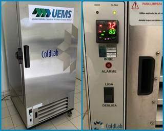 Ultrafreezer emprestado pela Uems à SES para armazenamento das vacinas. (Foto: Uems)