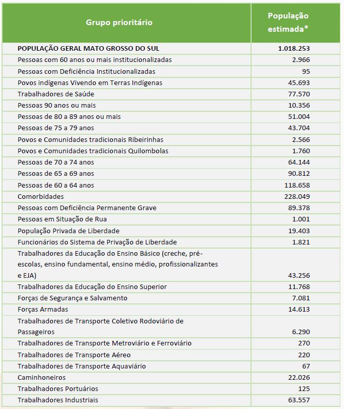 Fonte: Plano Estadual de Vacinação contra Covid-19 / SES