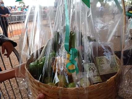 Assentados entregam cestas com alimentos para Bolsonaro e Tereza Cristina