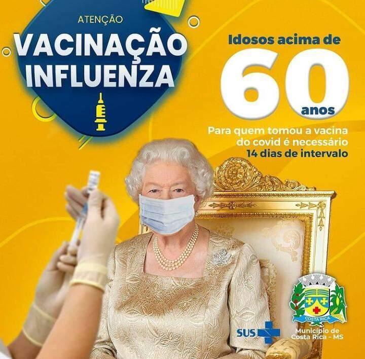 Rainha Elizabeth II foi mais uma a 'aderir' a campanha contra a gripe (Foto: Reprodução)