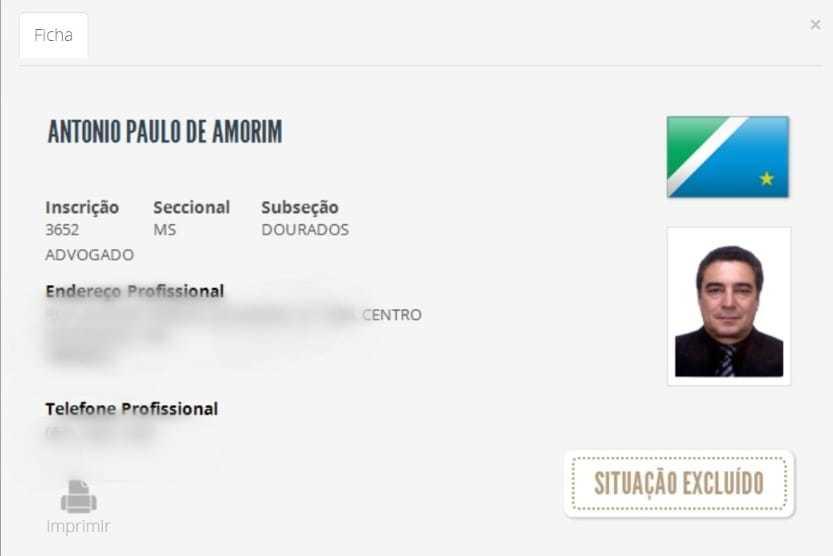Tela de consulta do cadastro nacional de advogados mostra a exclusão de Antônio Paulo. (Foto: Reprodução do site da OAB)