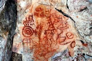 Pintura rupestre no Parque Natural Municipal Templo dos Pilares (Foto: Fabio Pellegrini)