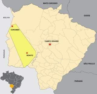 Geopark Bodoquena-Pantanal está localizado na parte amarela do mapa (Foto: Governo do Estado MS)