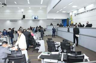 Câmara Municipal de Campo Grande durante sessão realizada na semana passada (Foto: Ascom/CMCG)
