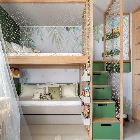 Em 13 m², quarto de irmãos tem espaço até para os primos brincarem