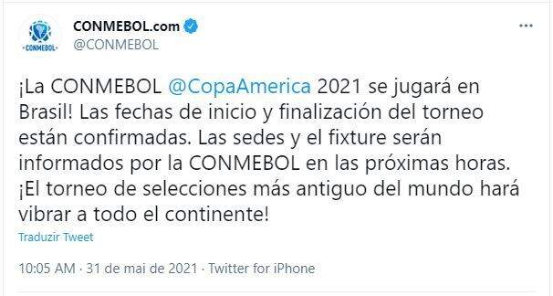 Comunicado da Conmebol anunciando competição no Brasil (Foto: Reprodução/Twitter)