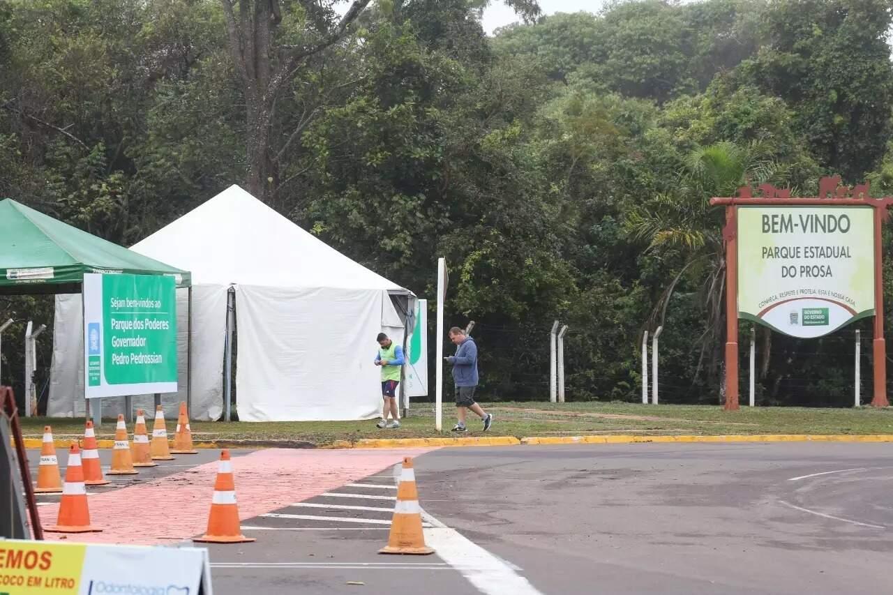 Entrada do Parque dos Poderes reservada para a prática esportiva (Foto: Paulo Francis/Arquivo)