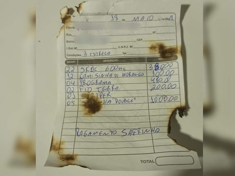 Uma das notas supostamente encontradas após incêndio em Caarapó. (Foto: Reprodução Internet)