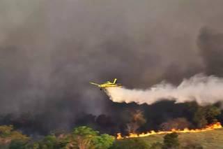 Avião sobrevoa região na tentativa de amenizar fogo no Pantanal. (Foto: Arquivo)