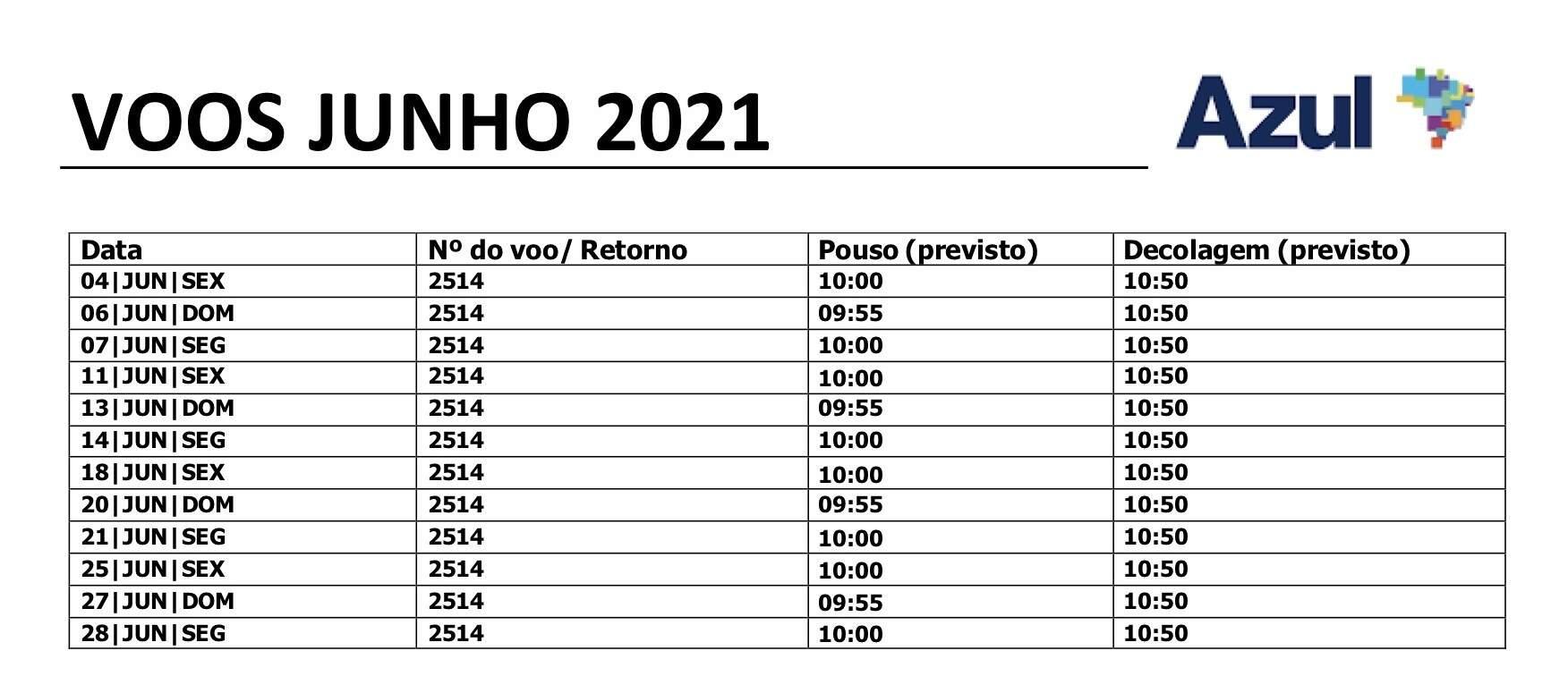 Voos da Azul entre Bonito e o Aeroporto Internacional de Viracopos neste mês de junho (Foto: Reprodução)