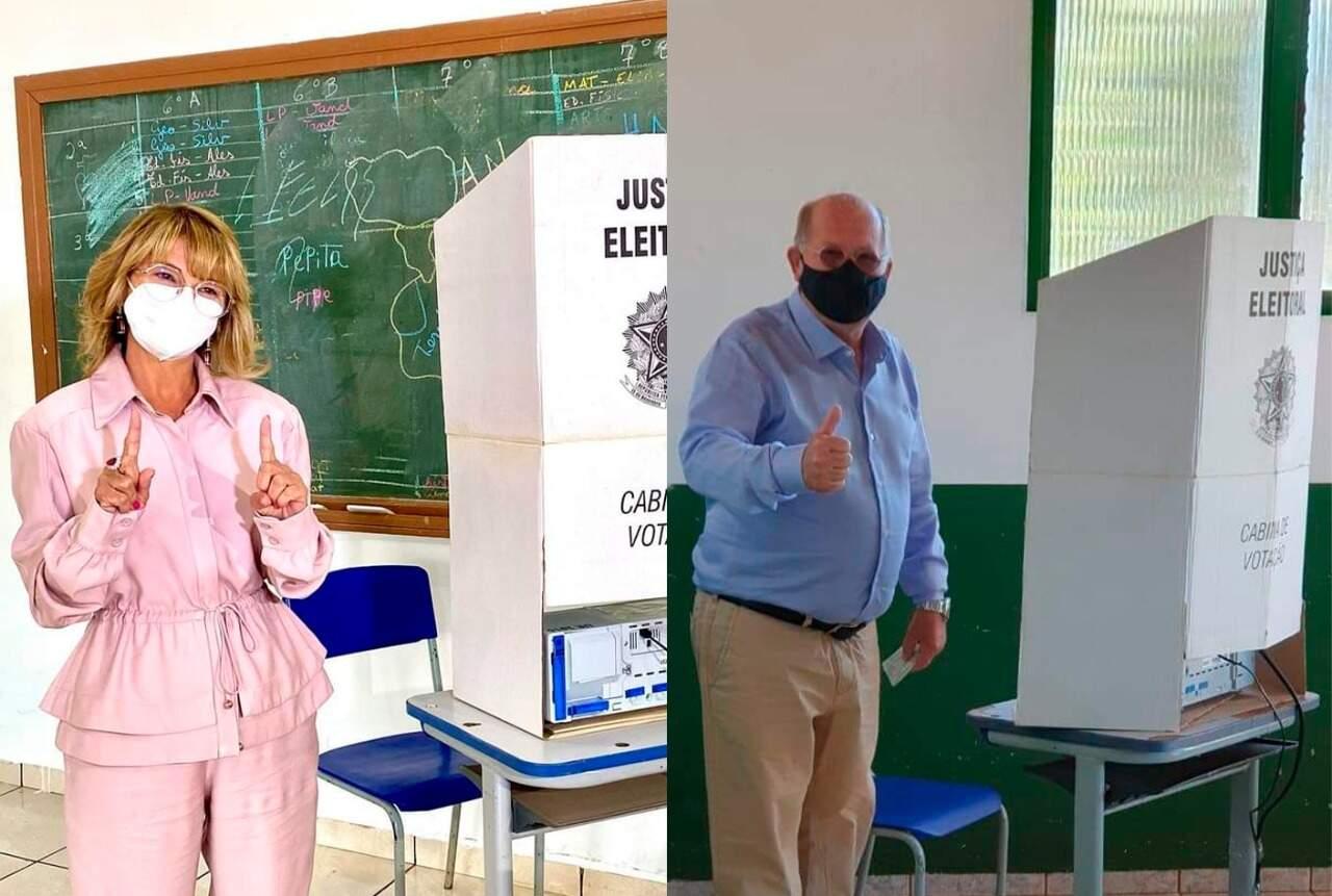 Vanda Camilo (PP) aguarda resultado em casa e Enelvo Felini (PSDB) já planeja vitória na praça principal de Sidrolândia (Foto Reprodução)