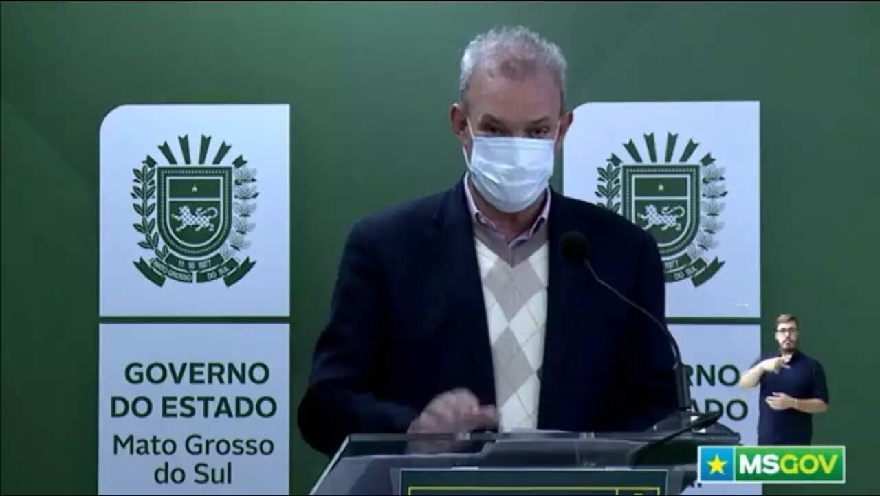 Secretário Geraldo Resende durante transmissão on-line. Titular da Saúde do Estado espera ansioso por resposta positiva do Ministério da Saúde. (Foto: Reprodução/Vídeo)