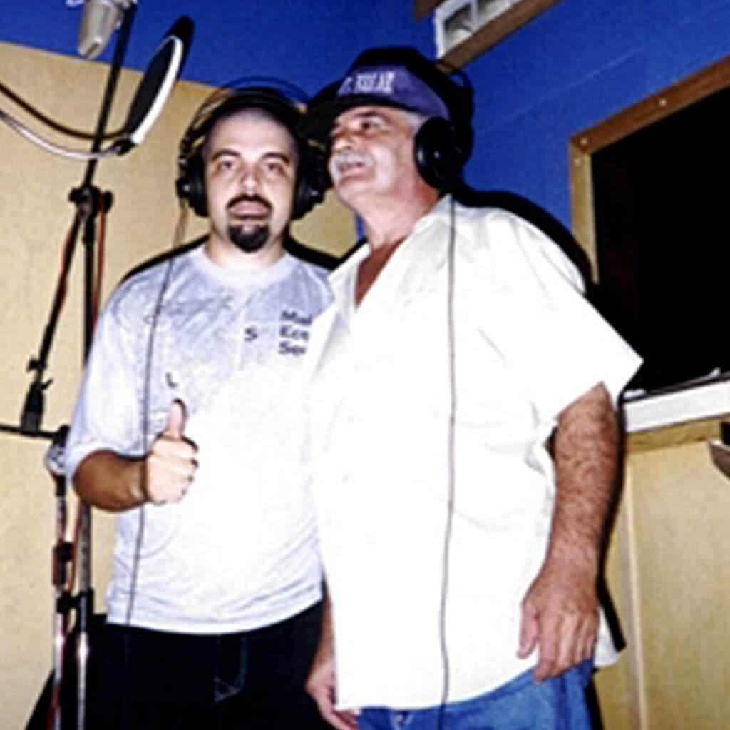 Buddy X gravando com seu pai, Mano Gera (Foto: Arquivo Pessoal)