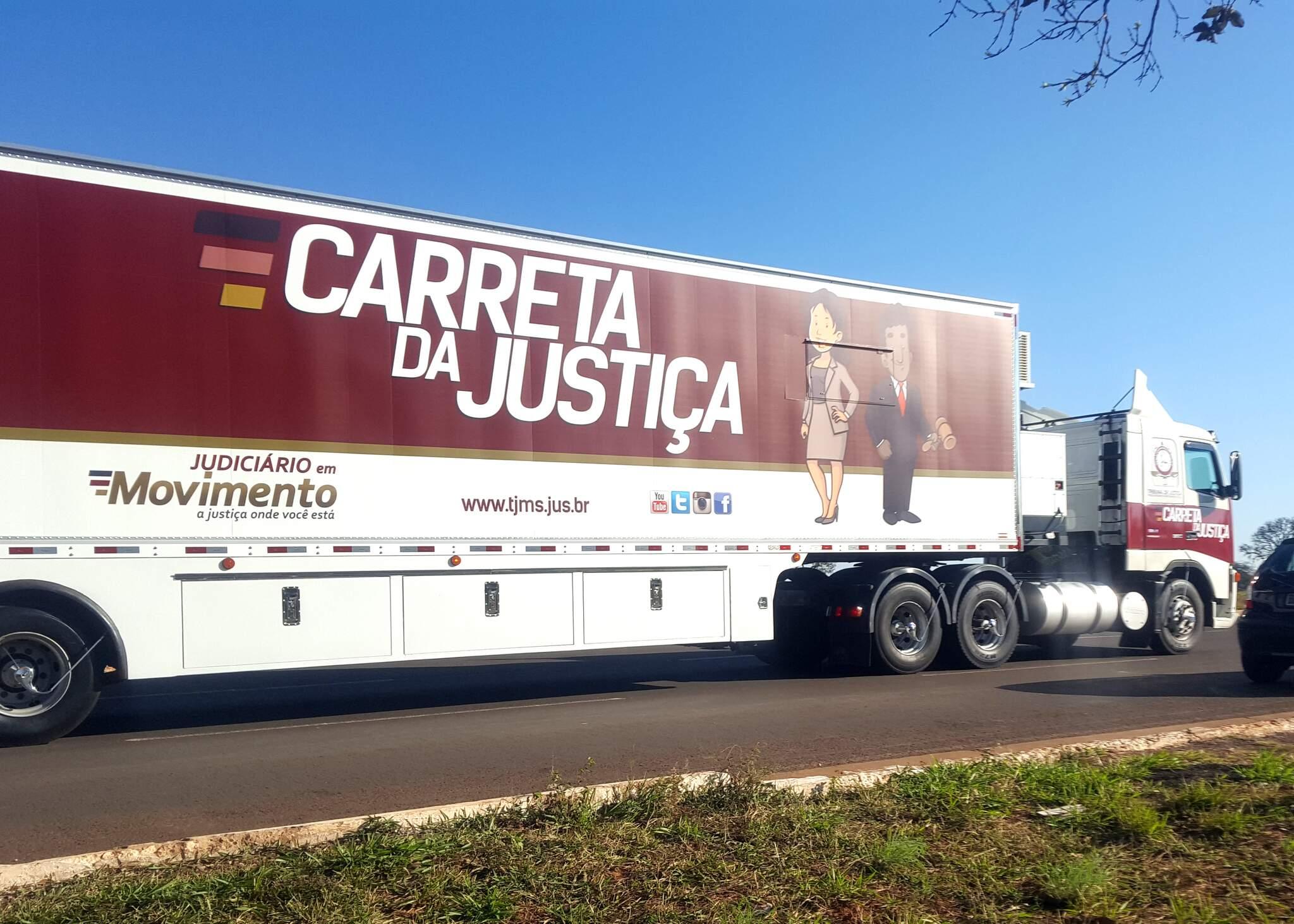 Carreta da Justiça que leva serviços aos municípios do interior do Estado. (Foto: Divulgação)
