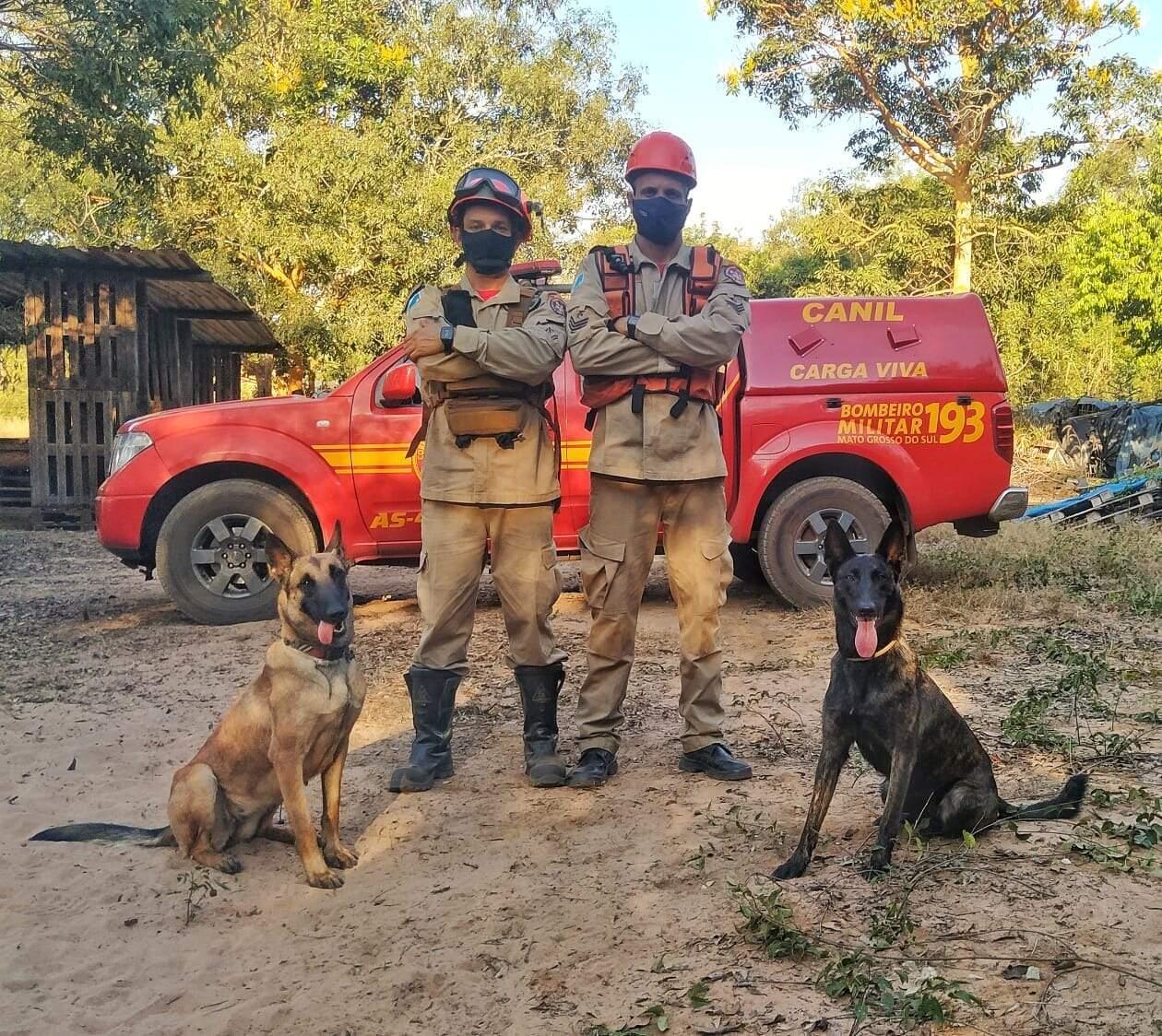Os condutores das cadelas, o sargento Thiago Kalunga e o cabo Medeiros, junto delas. (Foto: Divulgação/Corpo de Bombeiro)