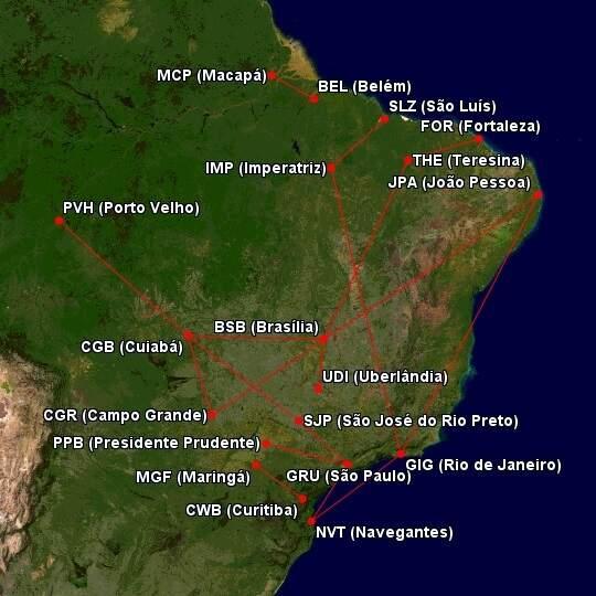 El mapa muestra todas las carreteras y ciudades servidas por Ita Linhas Aéreas (Arte: Great Circle Mapper)