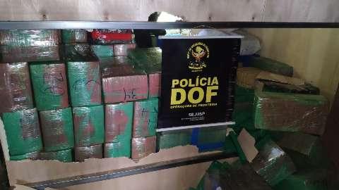 Em bloqueio na MS-289, polícia flagra caminhão com 3 toneladas de maconha