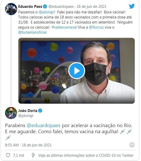 """""""Rinha"""" começou com Eduardo Paes e João Dória Jr. nas redes sociais (Foto/Reproduçao)"""